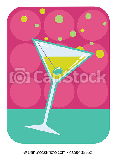 Martini retro style illustration. - csp8482562