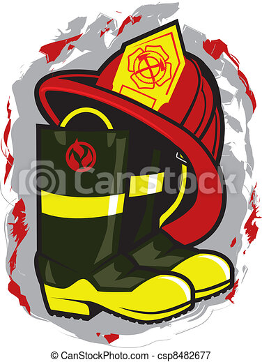 Fireman Hat and Boots - csp8482677