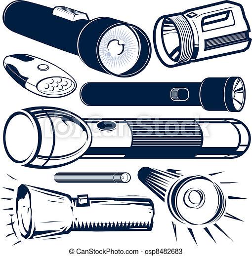 Taschenlampe clipart  Vektoren von taschenlampe, sammlung - Clip, kunst, sammlung, von ...