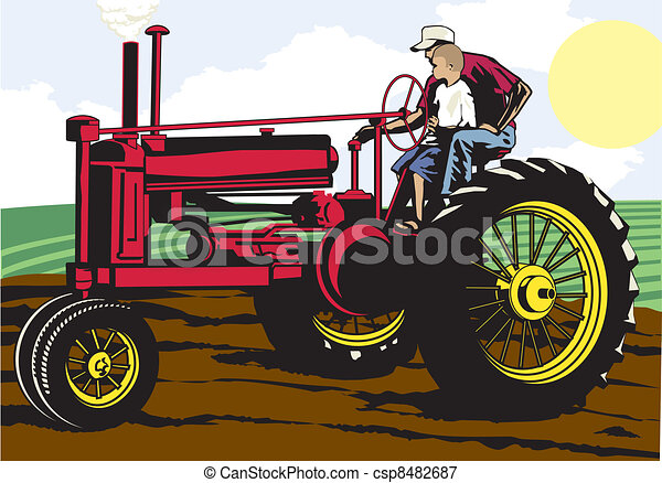 Father and Son Farming - csp8482687