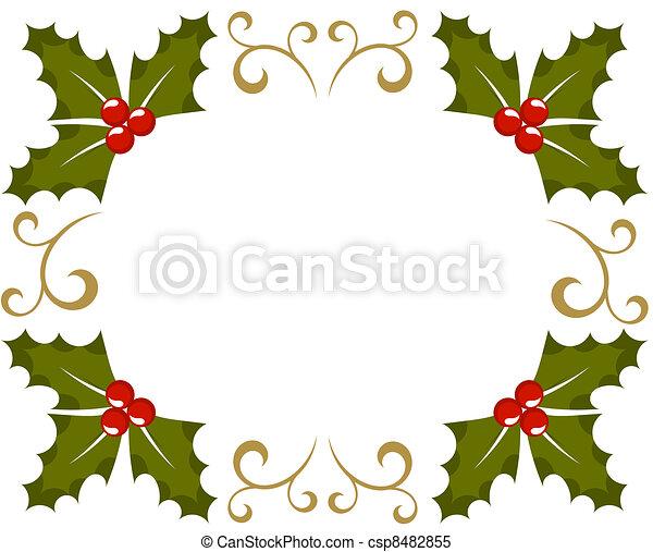 clipart vektor von rahmen weihnachten stechpalme beere weihnachten csp8482855 suchen. Black Bedroom Furniture Sets. Home Design Ideas
