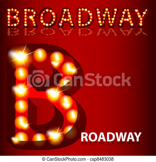Theatrical Lights Broadway Text - csp8483038