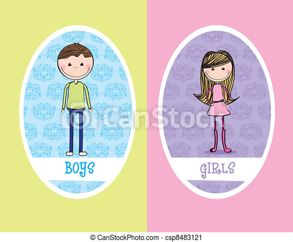 girls and boys sign - csp8483121