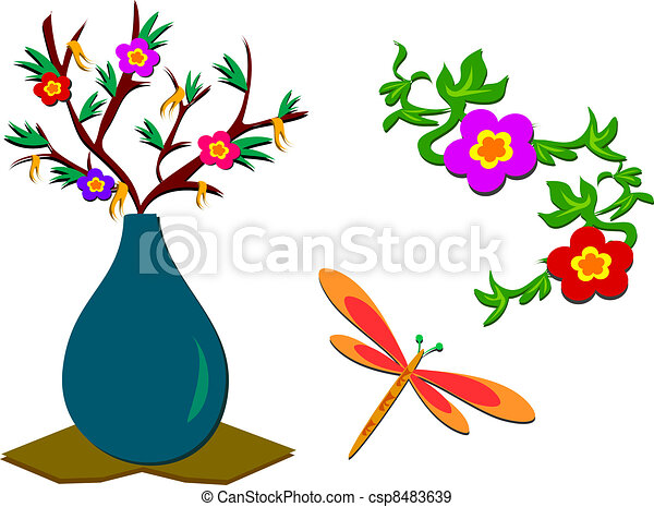 Mix of Flowers, Plants, Dragonfly - csp8483639