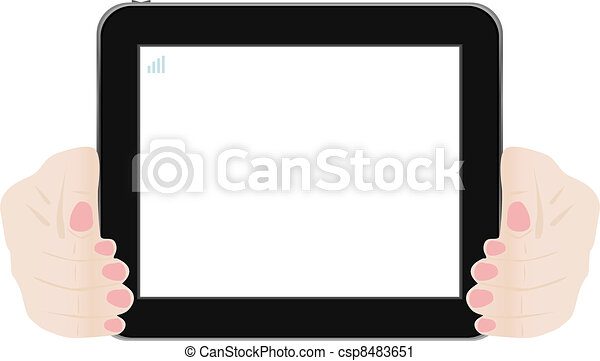 a female hand holding a touchpad pc - csp8483651