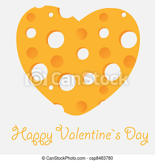 Cheese heart vector illustration - csp8483780