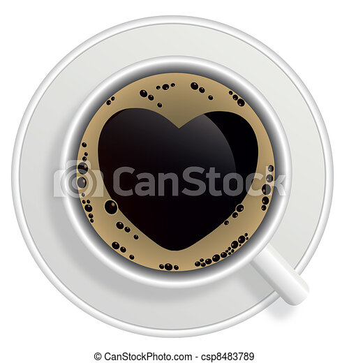 Top view of black coffee cup isolated on white background. Photo-realistic vector. - csp8483789