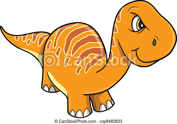 Angry Mad Orange Dinosaur Vector - csp8483833