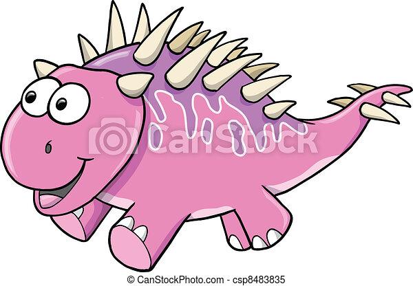 Silly Goofy Pink Dinosaur Vector - csp8483835