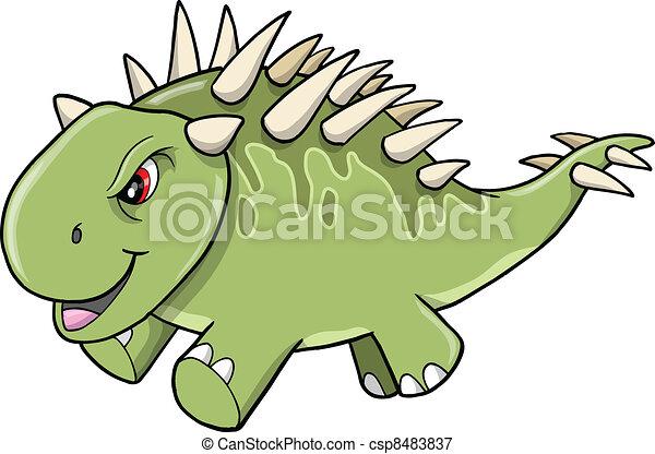 Angry Tough Green Dinosaur Vector - csp8483837