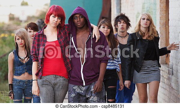 Young Punk Couple with Friends - csp8485131