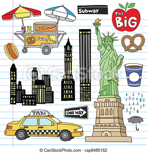 New York City Doodles Vector Set - csp8485162