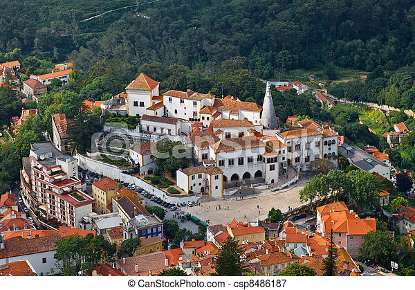 Sintra National Palace near Lisbon in Portugal, View from Above - csp8486187