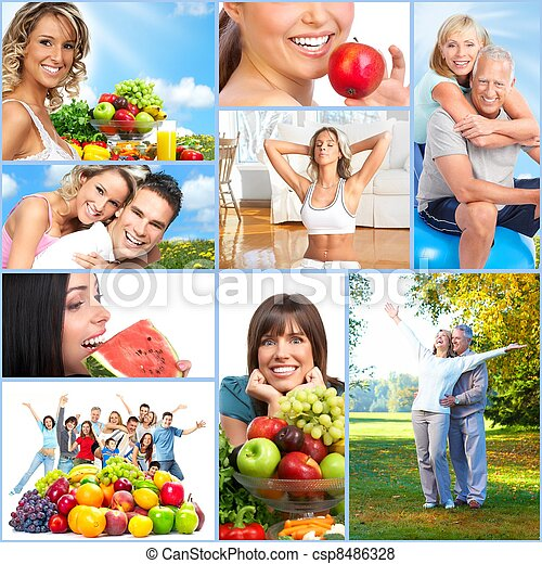 Happy healthy people collage. - csp8486328