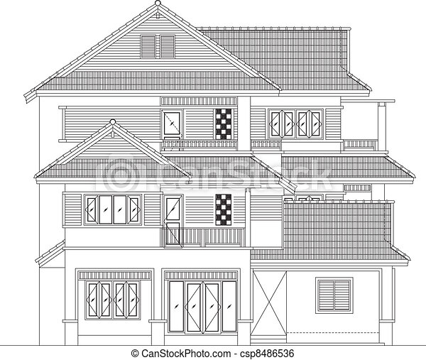 elevation house vector - csp8486536