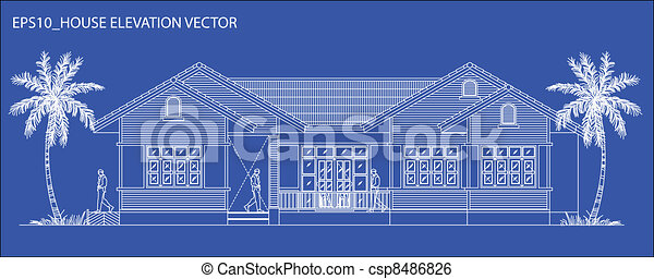 elevation house vector - csp8486826