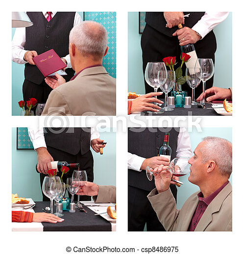 Ordering wine in a restaurant - csp8486975