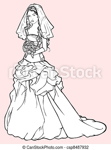 Bride in a wedding gown - csp8487932