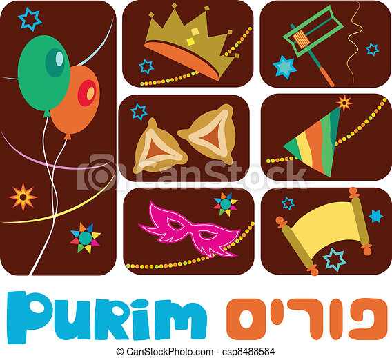 Happy purim, jewish holiday - csp8488584