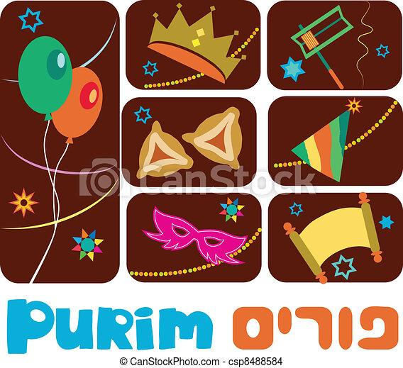 Happy purim, jewish holiday - csp8488584