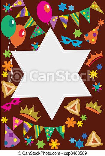 Purim background with davis star - csp8488589