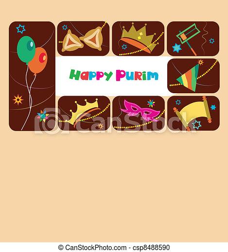 Happy purim, jewish holiday - csp8488590
