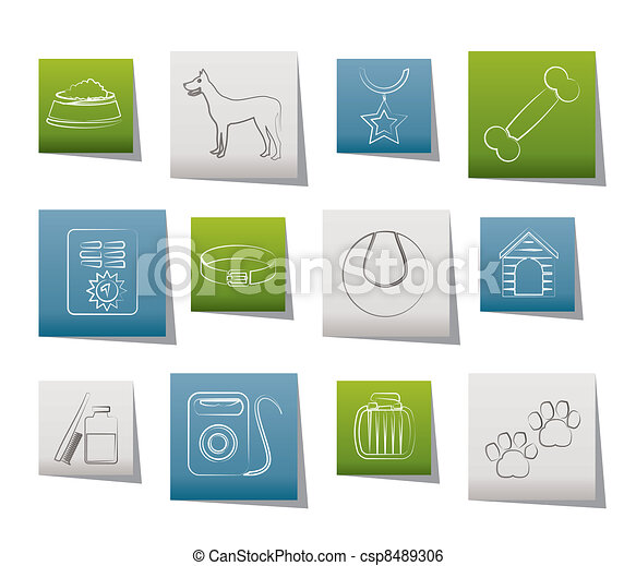 dog accessory and symbols icons  - csp8489306