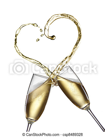 Champagne splash in shape of heart isolated on white - csp8489328