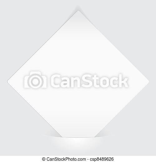Sheet of white paper mounted in pocket - csp8489626