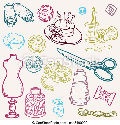 Sewing Kit Doodles - hand drawn design elements in vector - csp8490290