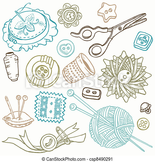 Sewing Kit Doodles - hand drawn design elements in vector - csp8490291