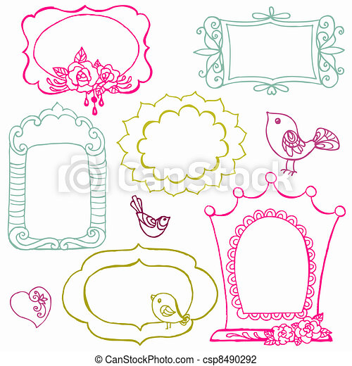 Sweet Doodle Frames with Birds and Flower Elements - in vector - csp8490292