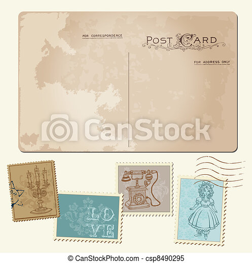 Vintage Postcard and Postage Stamps - for wedding design, invitation, congratulation, scrapbook - csp8490295