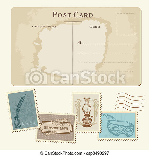 Vintage Postcard and Postage Stamps - for wedding design, invitation, congratulation, scrapbook - csp8490297