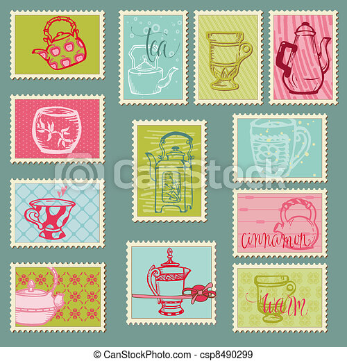 Funny Teapots and Cups Postage Stamps - for design, invitation, congratulation, scrapbook - csp8490299