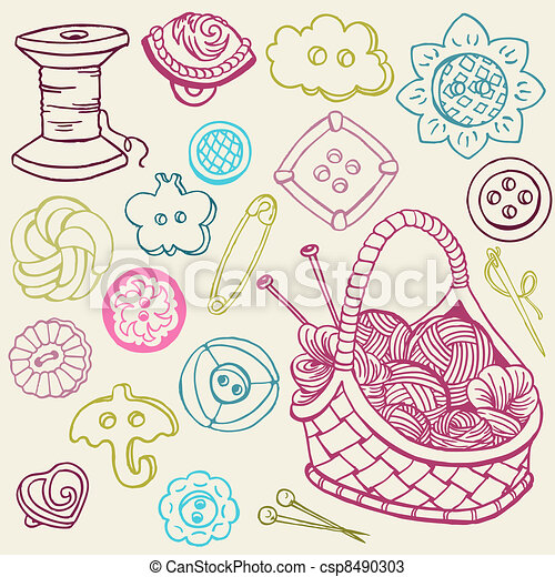 Sewing Kit Doodles - hand drawn design elements in vector - csp8490303