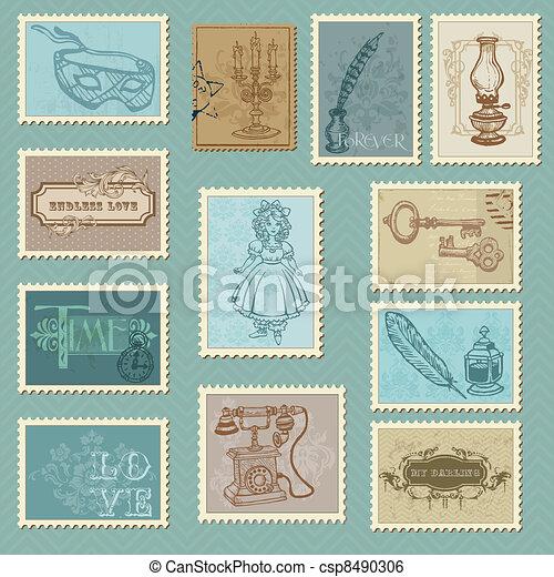 Retro Postage Stamps - for wedding design, invitation, congratulation, scrapbook - csp8490306