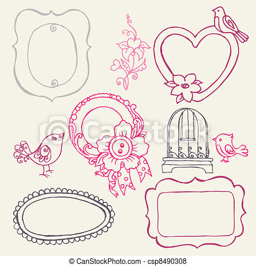 Sweet Doodle Frames with Birds and Flower Elements - in vector - csp8490308