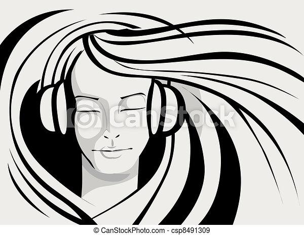 Lady Enjoying Music - csp8491309