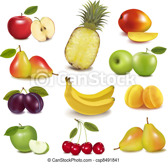 Big group of different fruit.  - csp8491841