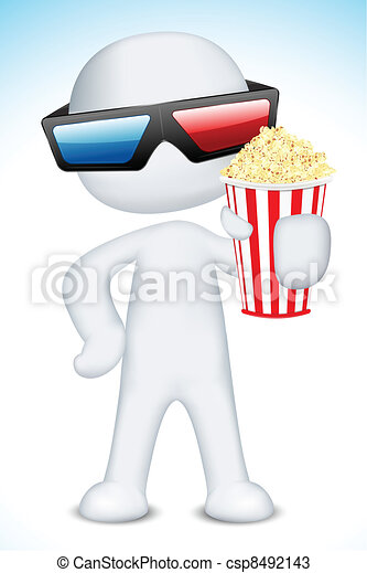 3d Man wearing 3d Glasses holding Popcorn - csp8492143