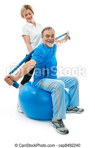 Senior man in gym - csp8492240
