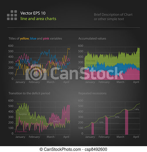 infographics, line and area charts - csp8492600