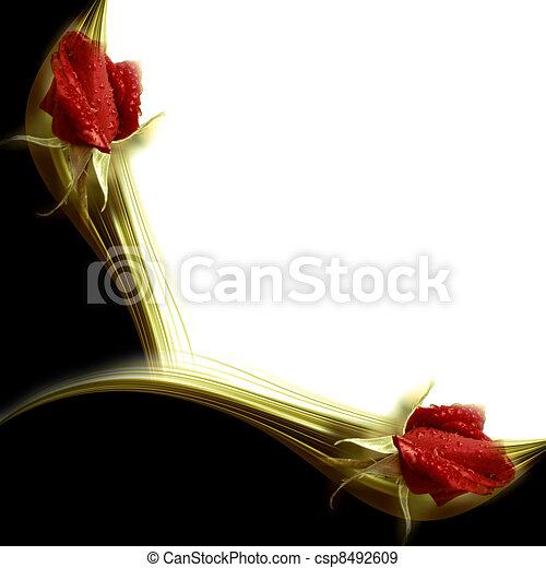 invitation elegant red roses - csp8492609