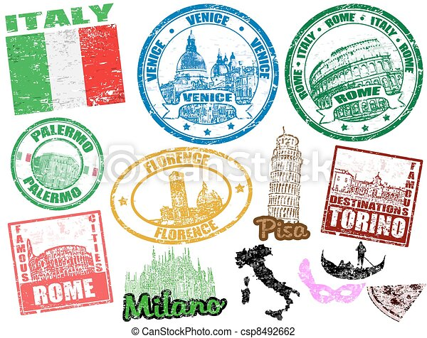 Stamps with Italy - csp8492662