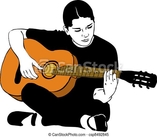 Vecteur Clipart De Guitare Acoustique Girl Jouer