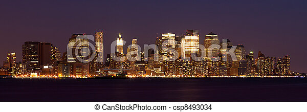 New York - Panoramic view  of Manhattan Skyline by night - csp8493034