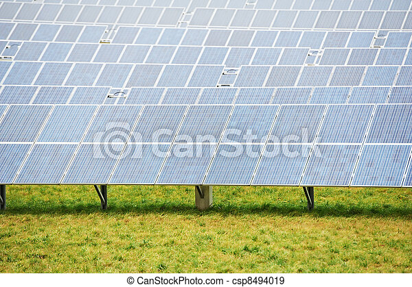Ecology energy farm with solar panel battery field - csp8494019