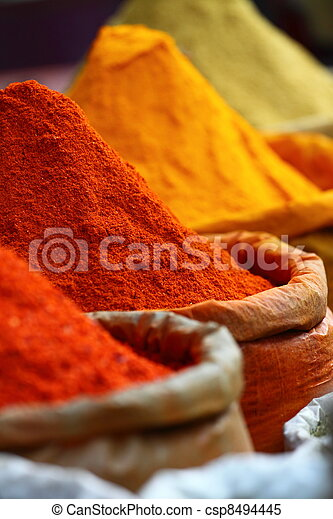 Traditional spices market in India. - csp8494445