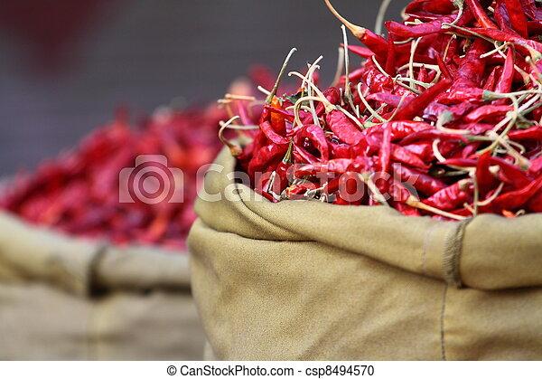 paprica, 傳統, 印度, 紅色, 蔬菜, 市場 - csp8494570